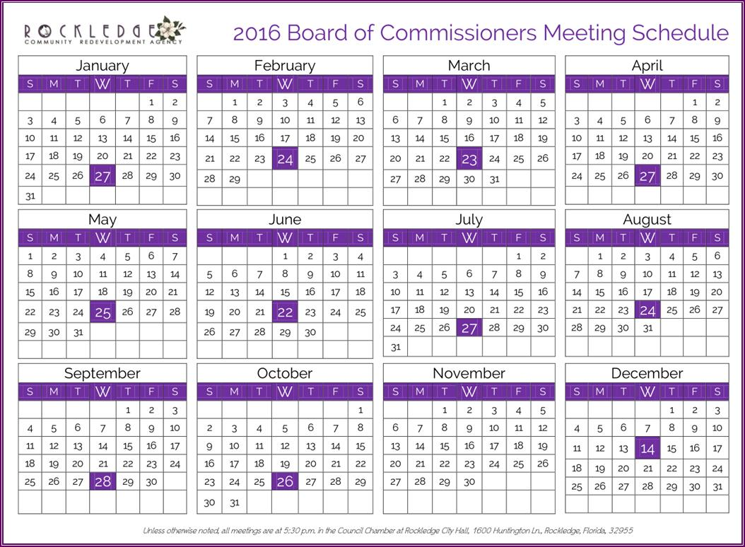 2016 Redevelopment Agency Board Meeting Schedule