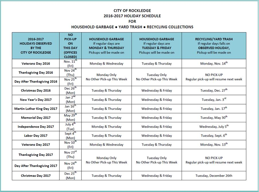 2016-2017 Holiday Garbage Schedule