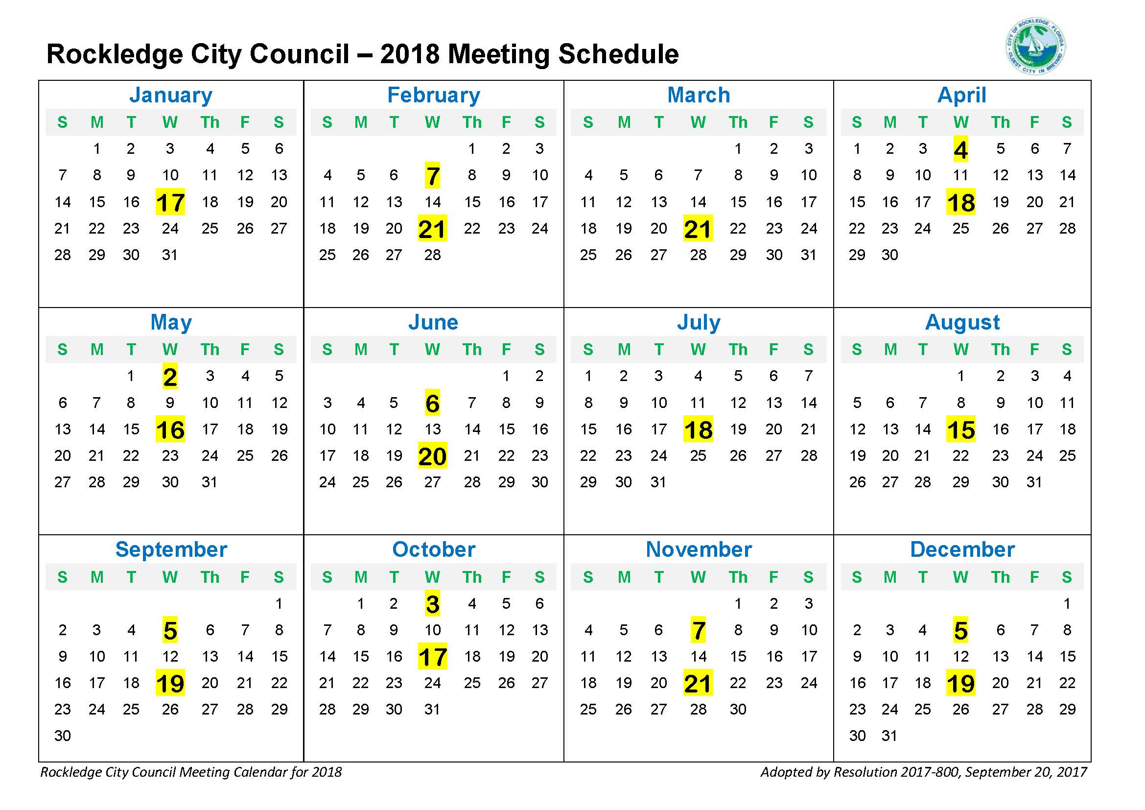 2018 City Council Meeting Calendar