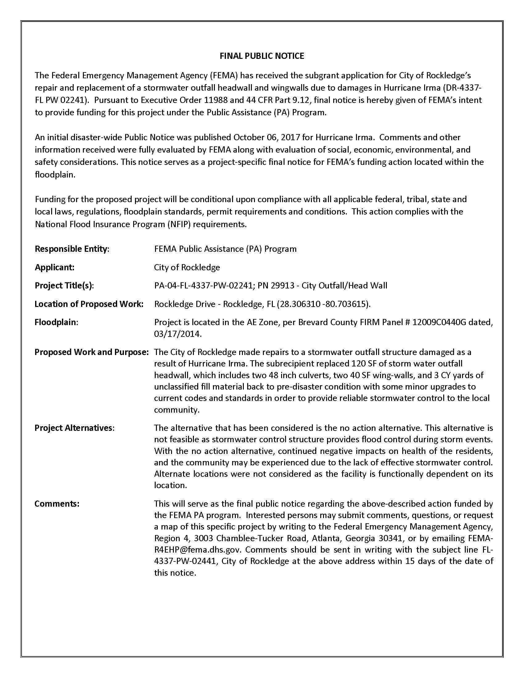 Final Public Notice - Master Outfall Headwall